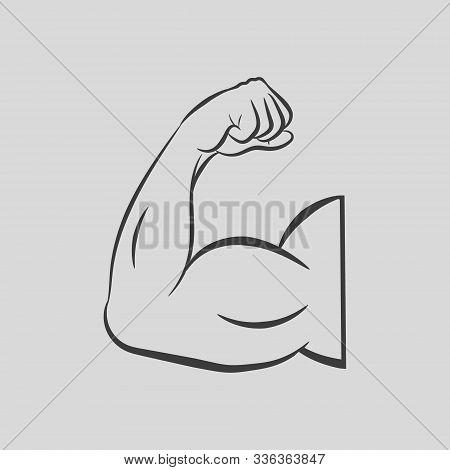 Biceps Flex Arm. Muscular Bodybuilder Pose. Vector Illustration.