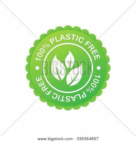 Plastic Free Green Icon Badge. Bpa Plastic Free Chemical Mark. Vector Stock Illustration.