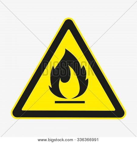 Flammable Fire Hazard Warning Symbol On Yellow Triangular Sign. Vector.