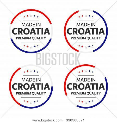 Set Of Four Croatian Icons, English Title Made In Croatia, Premium Quality Stickers And Symbols, Int