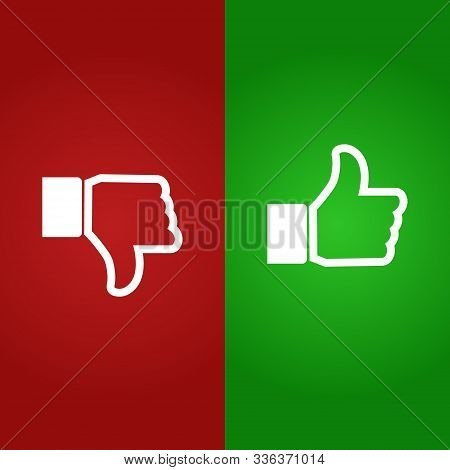 Thumb Up And Down Gestures - Like And Unlike. Vector.