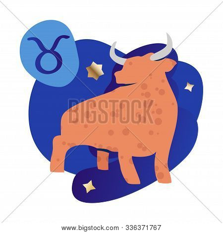 Taurus Zodiac And Horoscope Concept. Modern Vector Art With Bull, Stars And Zodiac Sign. Illustratio