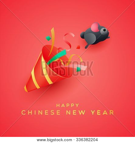 Happy Chinese New Year Of The Rat 2020 Greeting Card, Cute Funny Mouse Jumping From Party Popper In
