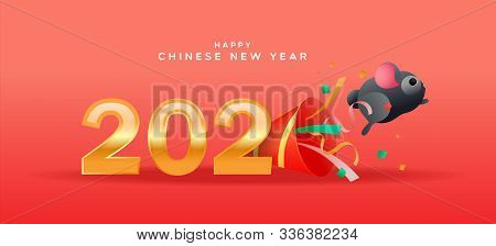 Happy Chinese New Year Of The Rat Greeting Card, Cute Funny Mouse Or Hamster Pet Jumping From Party