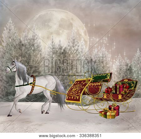 Santa Claus Sleigh On The Run In An Enchanted Winter Scenery - 3d Illustration