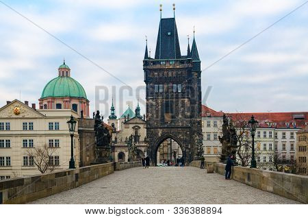 Prague, Czech Republic - January 22, 2019: Old Town Bridge Tower On Charles Bridge, Prague, Czech Re