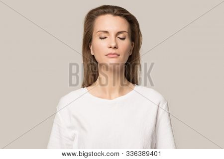 Calm Mindful Woman With Closed Eyes Breathing Deep, No Stress