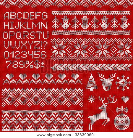 Knitted Sweater Patterns, Elements And Alphabet For Christmas, New Year Or Winter Design. Vector Set