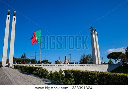 Lisbon, Portugal - May, 2018: Monument To The Revolution Of April 25Th Located At The North Side Of