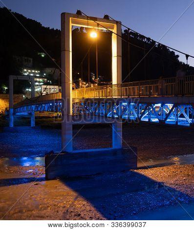 Berat, Albania - September 28, 2019: Close Up Of The Concrete Support Of Pedestrian Suspension Bridg