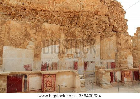 Ruins Of Columns At Fortress Masada Northern Palaces Lower Terrace In Israel