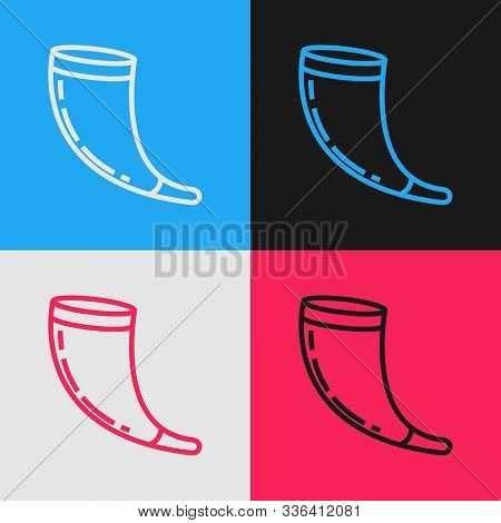 Color Line Traditional Ram Horn, Shofar Icon Isolated On Color Background. Rosh Hashanah, Jewish New