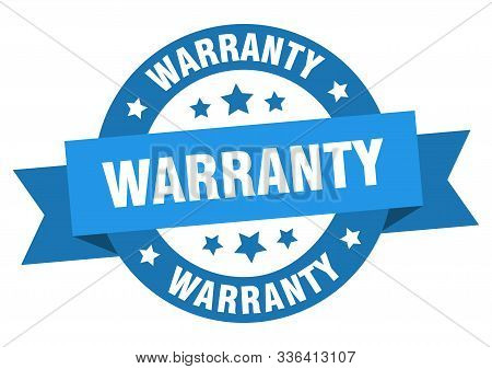 Warranty Ribbon. Warranty Round Blue Sign. Warranty
