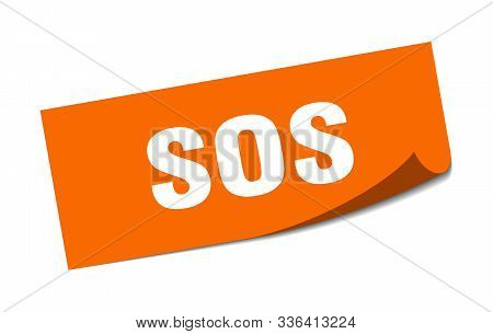 Sos Sticker. Sos Square Isolated Sign. Sos