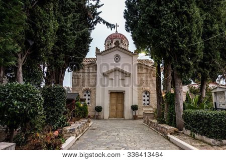 Thebes, Greece - February 5, 2019: The St. Luke The Evangelist Church In Thebes (thiva) In Greece Be