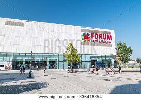 Ostrava, Czech Republic - August 29, 2019: Forum Nova Karolina Shopping Mall.