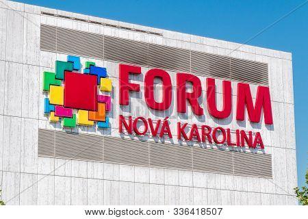 Ostrava, Czech Republic - August 29, 2019: Logo And Sign Of Forum Nova Karolina Shopping Mall.