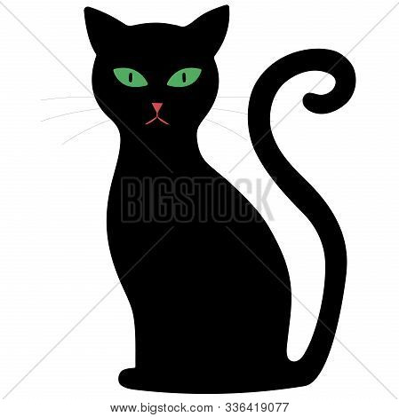 Black Cat With Green Eyes On A White Background