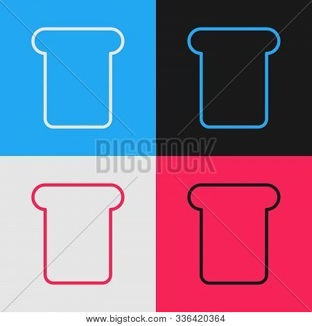 Color Line Bread Toast For Sandwich Piece Of Roasted Crouton Icon Isolated On Color Background. Lunc