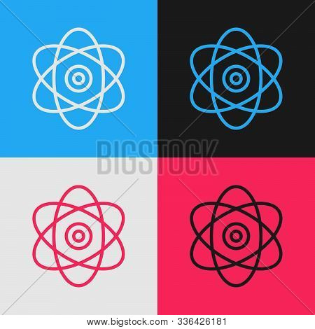 Color Line Atom Icon Isolated On Color Background. Symbol Of Science, Education, Nuclear Physics, Sc
