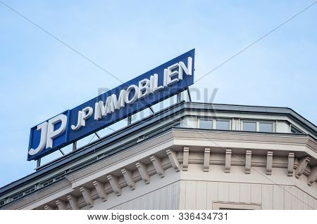 Vienna, Austria - November 6, 2019: Jp Immobilien Logo In Front Of Their Main Office In Vienna At Ni
