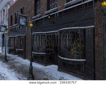 Classic Victorian Street Store Front Facade On Christmas Morning With 19th Century City Buildings, A