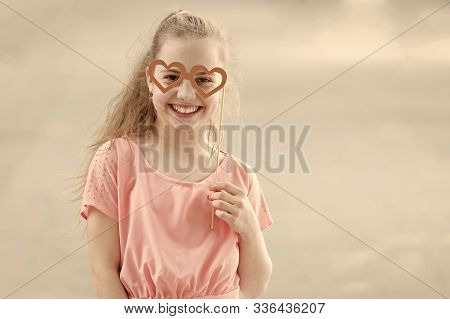 The Goggles Are Accessory For Her Face. Little Child Looking Happy Through Goggles Props. Funny Smal