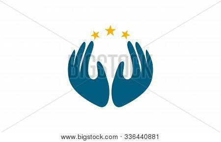 Praying Hand Holding Cross. Religion, Church Vector Logo