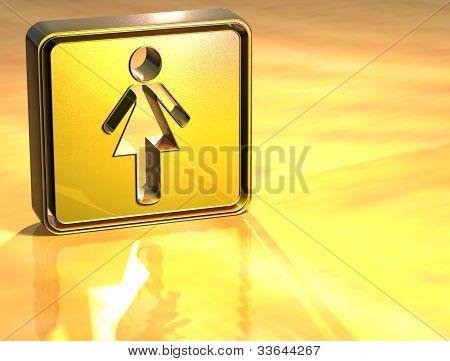 3D Women Toilet Gold Sign