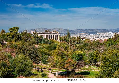 Athens / Greece - March 6 2016: The Temple Of Hephaestus (or Theseum), A Doric Peripteral Temple, Lo
