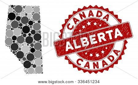 Mosaic Alberta Province Map And Round Seal Stamp. Flat Vector Alberta Province Map Mosaic Of Random