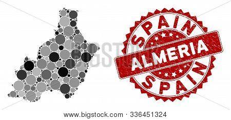 Mosaic Almeria Province Map And Circle Seal Stamp. Flat Vector Almeria Province Map Mosaic Of Scatte