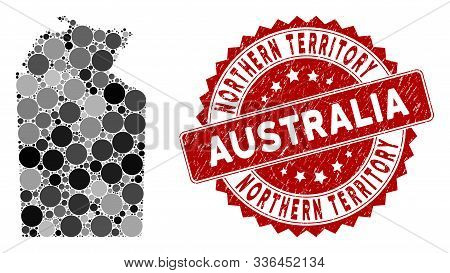 Mosaic Australian Northern Territory Map And Circle Stamp. Flat Vector Australian Northern Territory