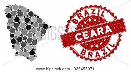 Mosaic Ceara State Map And Circle Stamp. Flat Vector Ceara State Map Mosaic Of Scattered Circle Item