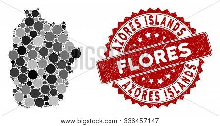 Mosaic Flores Island Of Azores Map And Round Seal Stamp. Flat Vector Flores Island Of Azores Map Mos
