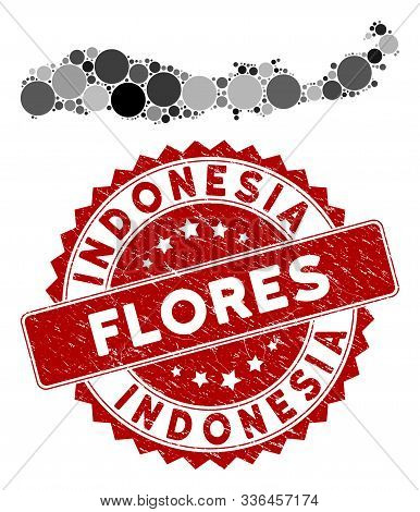 Mosaic Flores Island Of Indonesia Map And Circle Seal Stamp. Flat Vector Flores Island Of Indonesia