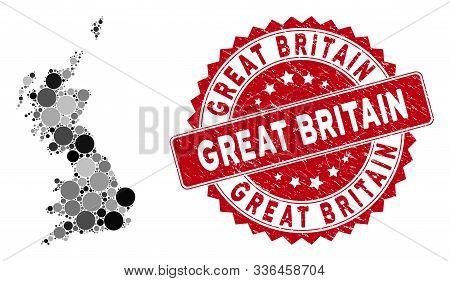 Mosaic Great Britain Map And Circle Stamp. Flat Vector Great Britain Map Mosaic Of Randomized Circle