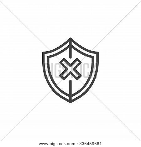 Shield Insecure Line Icon. Linear Style Sign For Mobile Concept And Web Design. Security Shield With