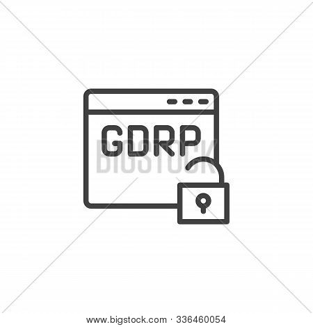 Gdpr Browser Insecure Line Icon. Web Security Linear Style Sign For Mobile Concept And Web Design. G