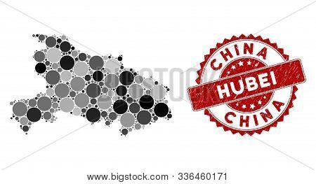 Mosaic Hubei Province Map And Circle Seal. Flat Vector Hubei Province Map Mosaic Of Random Circle It