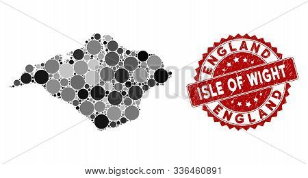 Mosaic Isle Of Wight Map And Circle Seal Stamp. Flat Vector Isle Of Wight Map Mosaic Of Scattered Ci