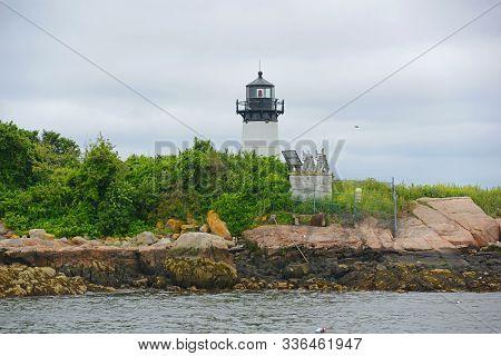 Ten Pound Island Lighthouse On Tenpound Island, Gloucester, Cape Ann, Massachusetts, Ma, Usa.