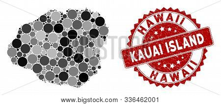 Mosaic Kauai Island Map And Circle Stamp. Flat Vector Kauai Island Map Mosaic Of Randomized Spheric