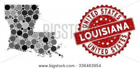 Mosaic Louisiana State Map And Circle Rubber Print. Flat Vector Louisiana State Map Mosaic Of Random