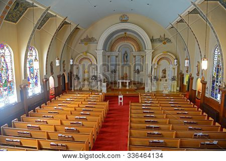 Gloucester, Ma, Usa - Aug. 8, 2015: Our Lady Of Good Voyage Church Is A Historic Spanish Revival Sty