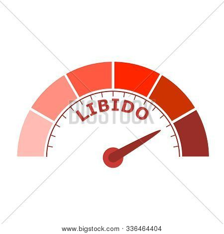 Scale With Arrow. The Libido Level Measuring Device Icon. Sign Tachometer, Speedometer, Indicators.