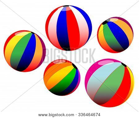 A Collection Of Isolated Multi Color Beachballs On A White Background