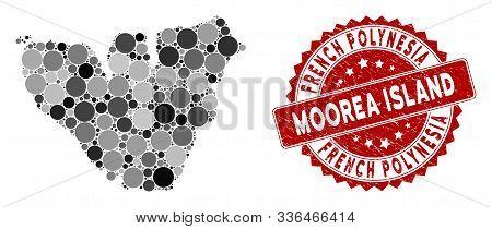 Mosaic Moorea Island Map And Circle Rubber Print. Flat Vector Moorea Island Map Mosaic Of Scattered