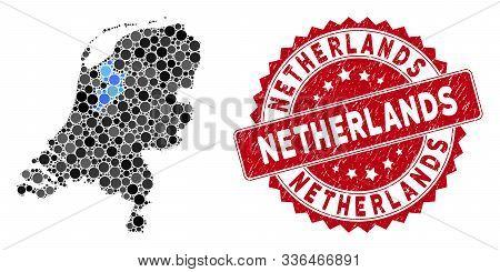 Mosaic Netherlands Map And Circle Seal. Flat Vector Netherlands Map Mosaic Of Scattered Spheric Item