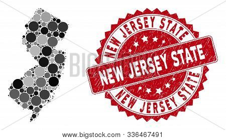 Mosaic New Jersey State Map And Circle Stamp. Flat Vector New Jersey State Map Mosaic Of Scattered C